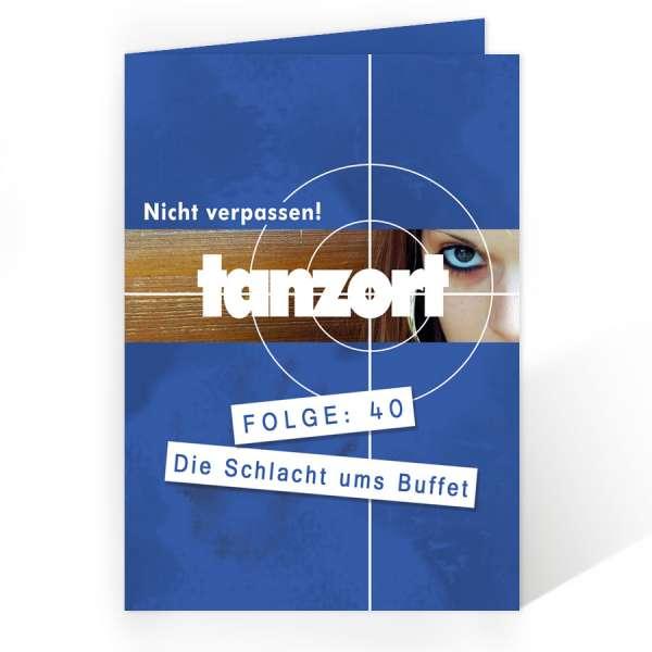 "Menükarte ""Tanzort"" mit Tatortzielscheibe"