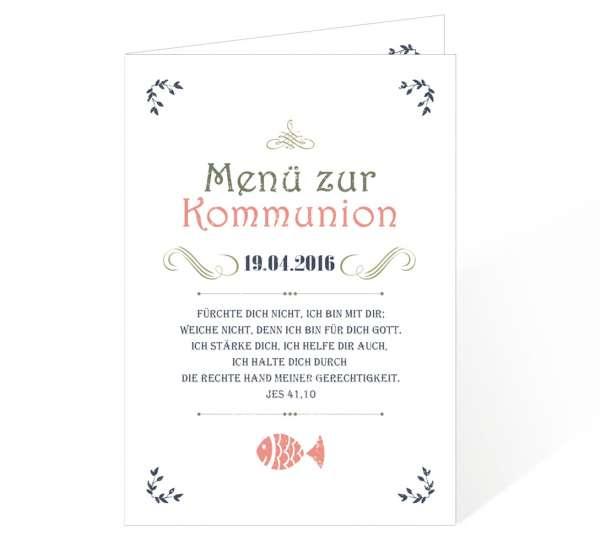 Menükarten Vintage für Kommunion Konfirmation