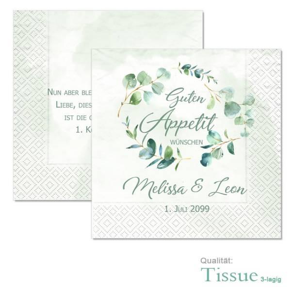 personalisierte Servietten zur Hochzeit mit Eukalyptus jetzt gestalten lassen