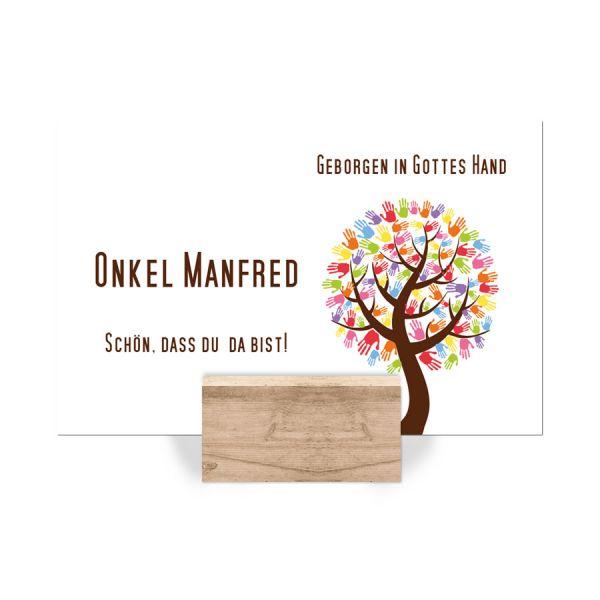 Platzkarte Erstkommunion Baum mit Händen