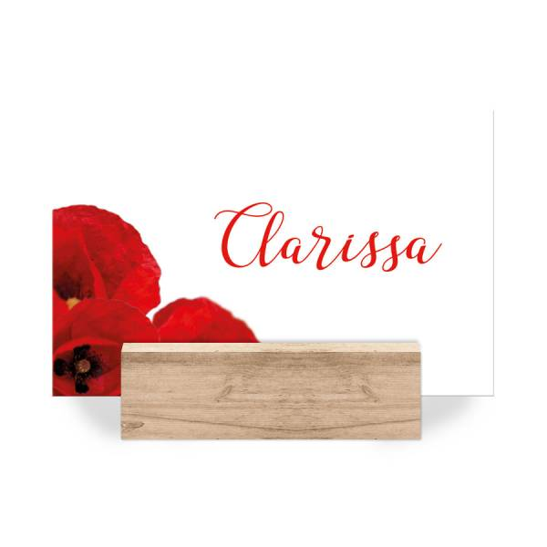 Platzkarten Tischkarten Namenskarten Hochzeit Mohnblumen drucken