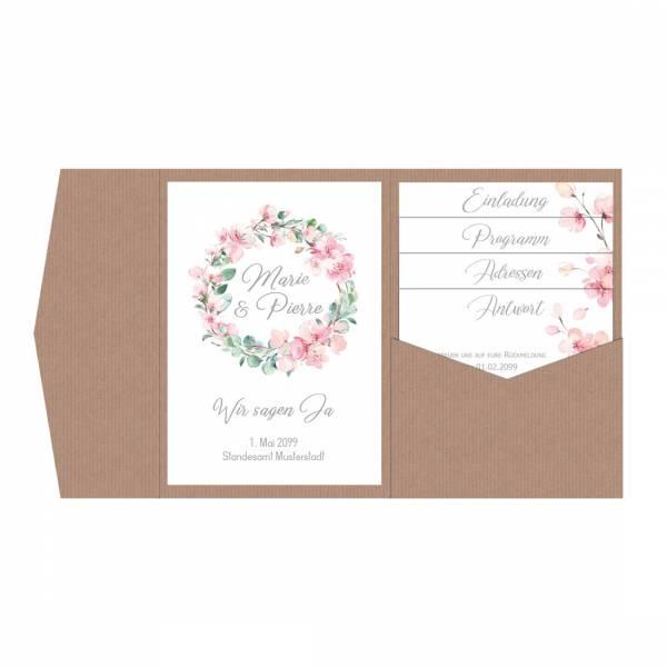 Pocketfold Einladungskarten Kirschblüten Eukalytus