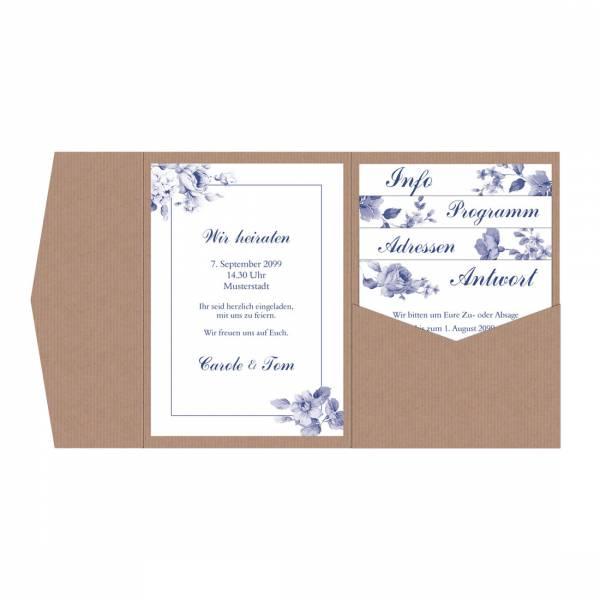 Einladungen Hochzeit Pocketfold Indianblue Blumen