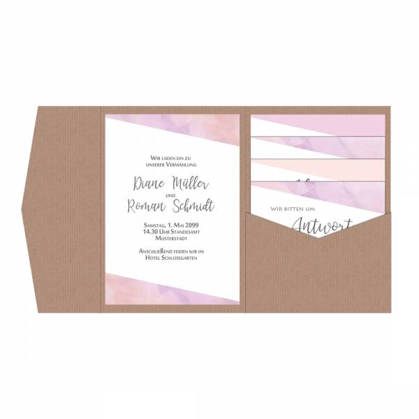 Pocketfold Einladungskarten Hochzeit pastell Aquarell Peach gestalten