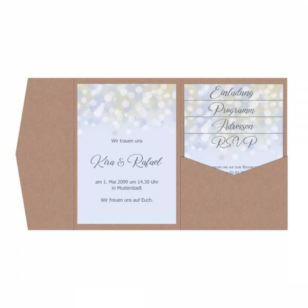 """romantische Pocketfold Hochzeitseinladung """"Lightblue"""" Bokeh"""