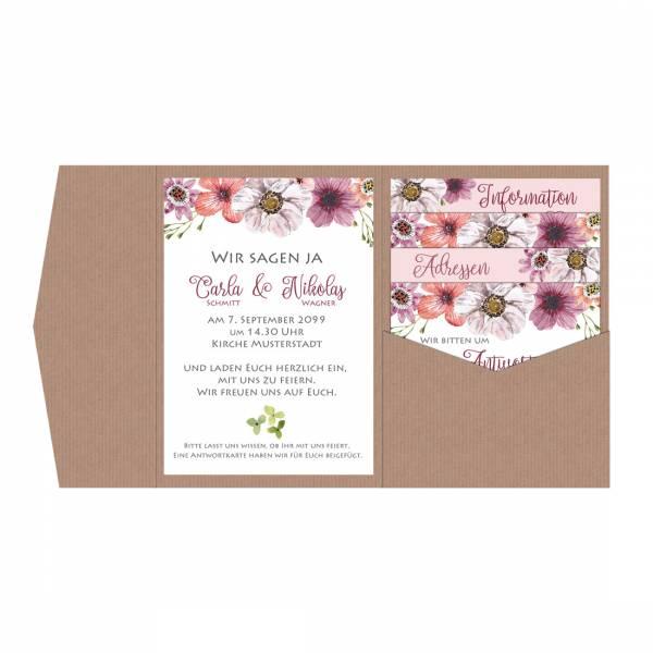 romantische Pocketfold Hochzeitseinladung mit Blüten Boho drucken