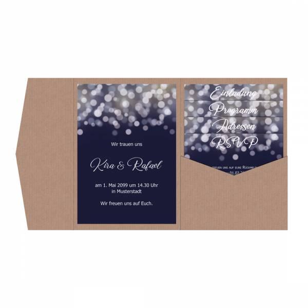 festliche Pocketfold Hochzeitseinladung Nightblue dunkelblau Bokeh drucken