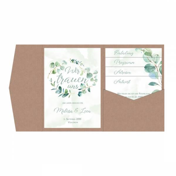 Pocketfold-Hochzeitseinladungen Eukalyptus drucken lassen
