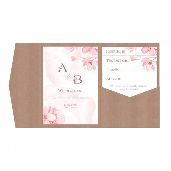 Pocketfold-Einladungen zur Hochzeit Kirschblüte drucken lassen