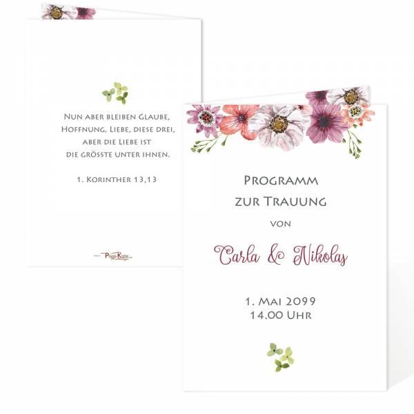 Programmheft Kirchenheft für die Trauung mit Blüten
