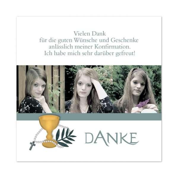 """Danksagungskarten Konfirmation Kommunionquadratisch """"Palmzweig"""""""