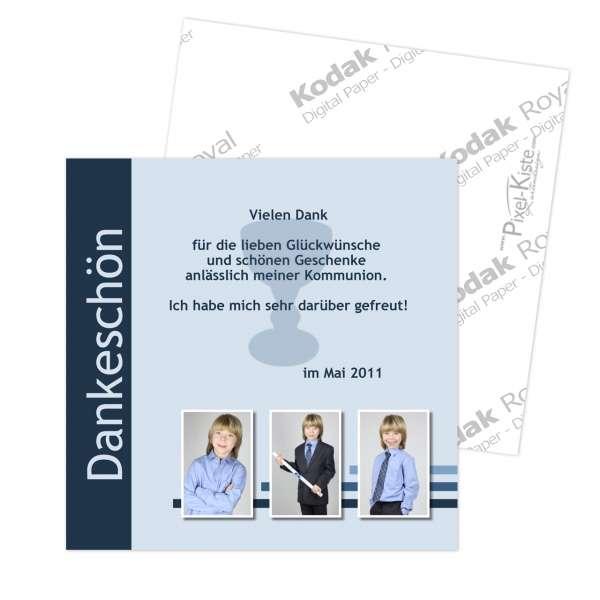 quadratische Danksagungskarten Konfirmation / Kommunion
