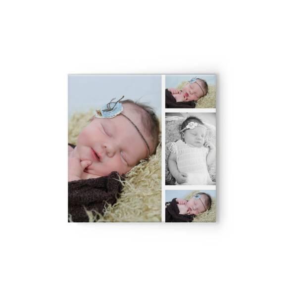 quadratische Fotoleinwand mit 4 Fotos Baby Newborn