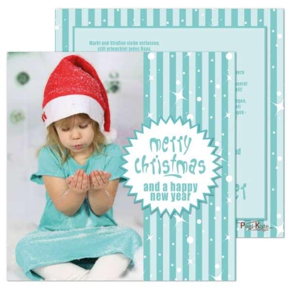 Weihnachtskarten quadratisch türkis/weiß