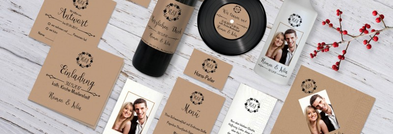 Einladungen zur Hochzeit Vintage