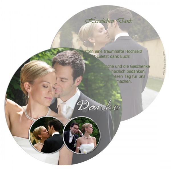 runde Danksagungskarte zur Hochzeit