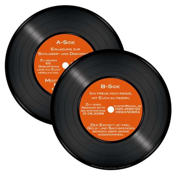 runde Einladungen Schallplatte