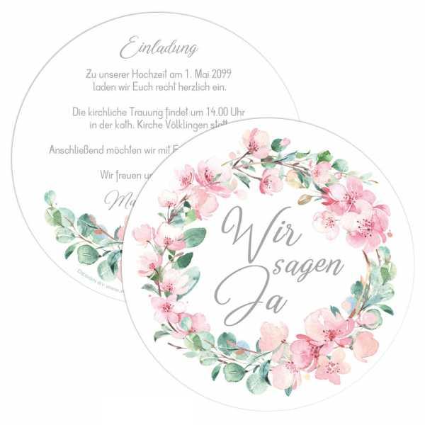 """runde Einladungen zur Hochzeit mit Kirschblüten und Eukalytus """"Marie & Pierre"""""""