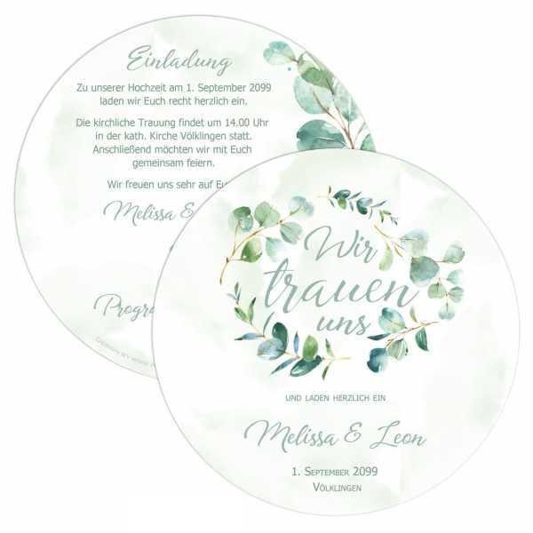 """Runde Einladungskarten zur Hochzeit mit Eukalyptus """"Melissa & Leon"""""""