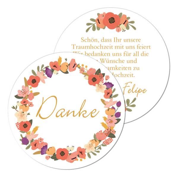 Stilvolle Geschenkanhänger für die Hochzeit mit Blütenkranz online drucken lassen ❤ ab 0,40 Euro ✓traumhafte Designs ✓ persönlicher Kontakt ✓ ...
