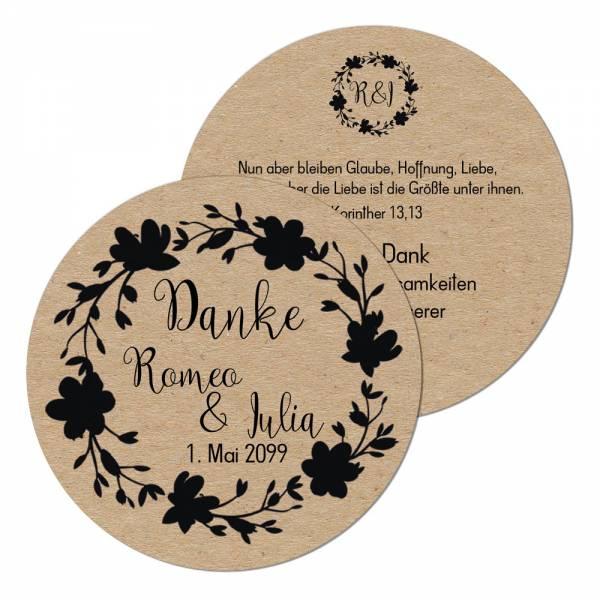 runde Geschenkanhänger Hochzeit vintage