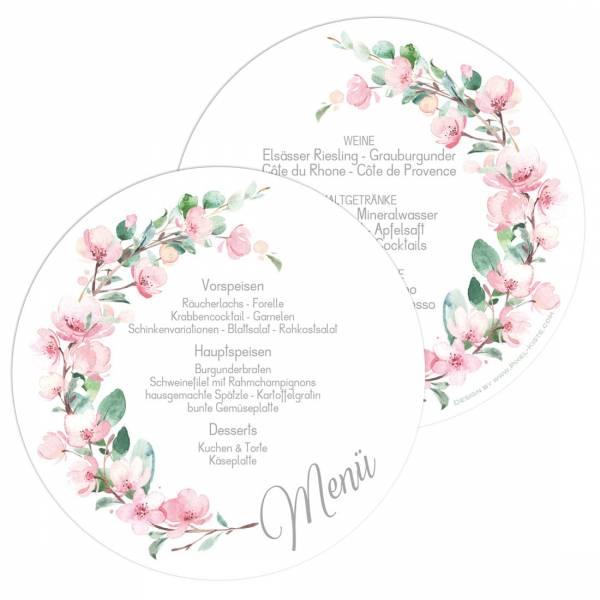 runde Menükarten zur Hochzeit mit Kirschblüten und Eukalyptus drucken lassen