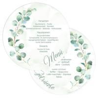 """runde Menükarten zur Hochzeit mit Eukalyptus """"Melissa & Leon"""""""