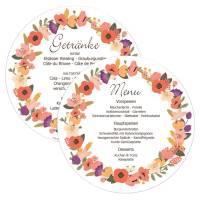 runde Menükarten Getränkekarte Hochzeit Blütenkranz