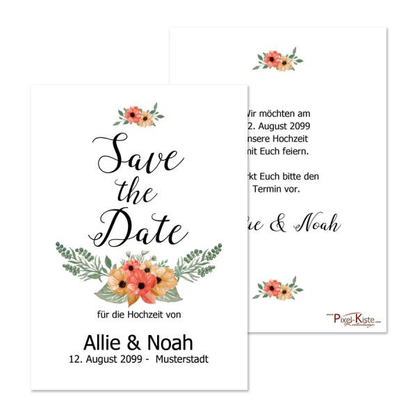 Save-the-Date-Karten Allie & Noah mit Blumen