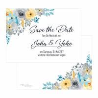Save-the-Date Aquarell Blumen Hochzeit Vintage
