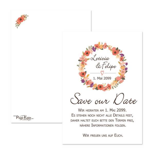 Save-the-Date-Karten Blütenkranz floral drucken