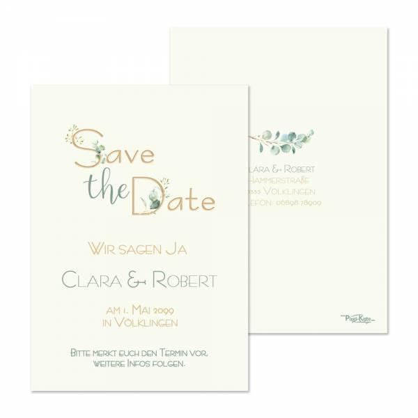 Save-the-Date Karten Greenery Eukalyptus online drucken