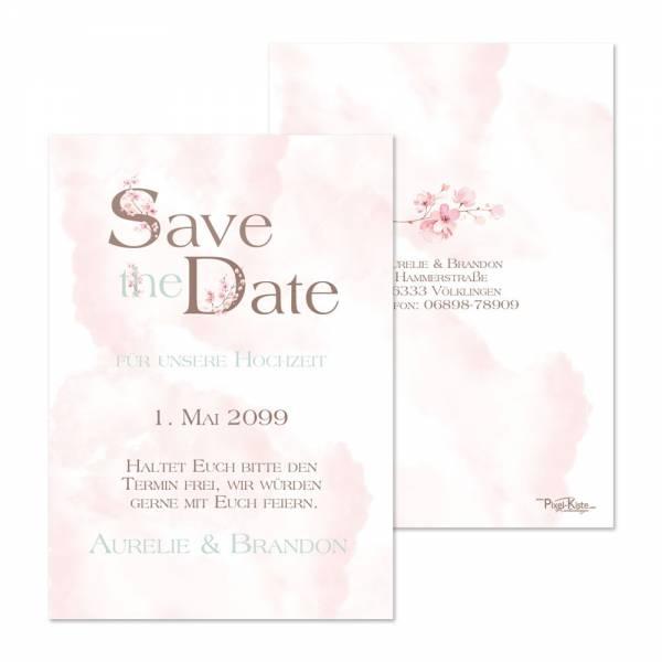 romantische Save-the-Date Karten Kirschblüte rose online gestalten lassen