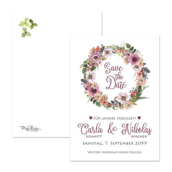 florale Save-the-Date-Hochzeitskarten mit floralem Blumenmotiv