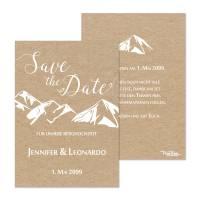 Save the Date Karten Berghochzeit in Kraftkartonoptik drucken