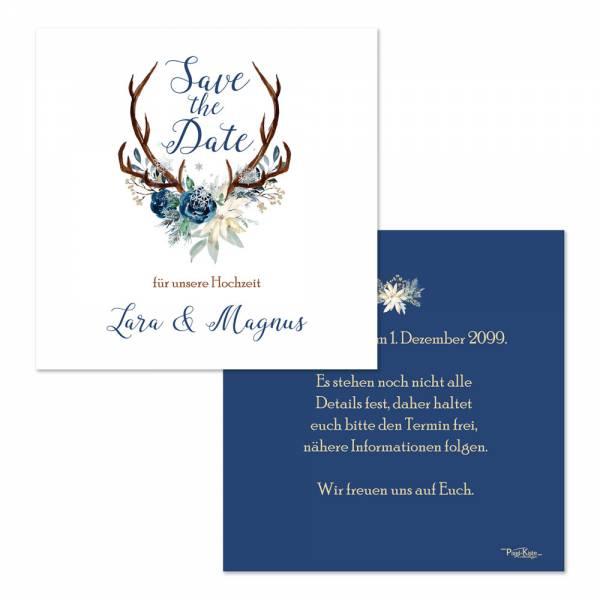 Save the Date für die ❄ Winterhochzeit ❄ Hirschgeweih mit Blumen