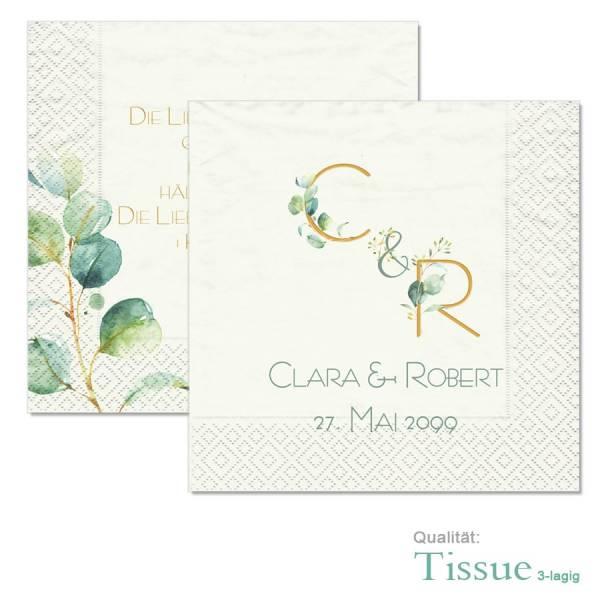 traumhafte Tissue-Serviette individuell zur Hochzeit bedruckt mit Eukalyptuszweigen