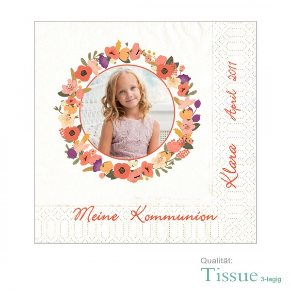 Fotoservietten Kommunion Konfirmation Blumenkranz (Tissue)