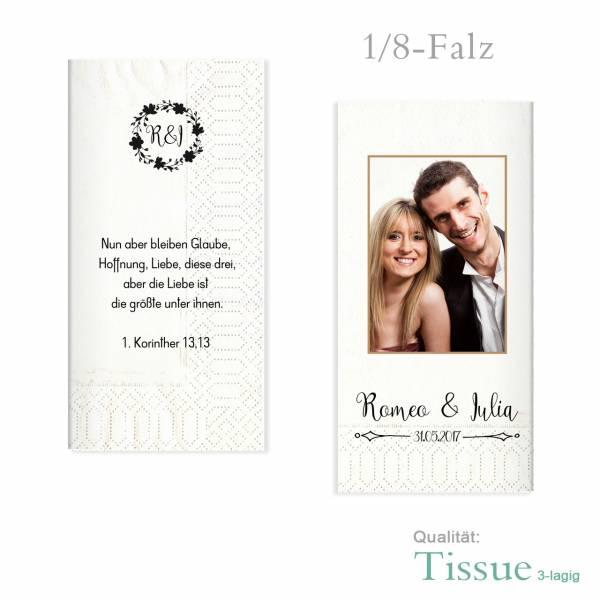 Servietten bedrucken zur Hochzeit Vintage Tissue