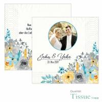 Servietten bedruckt Hochzeit Aquarell Blumen Tissue