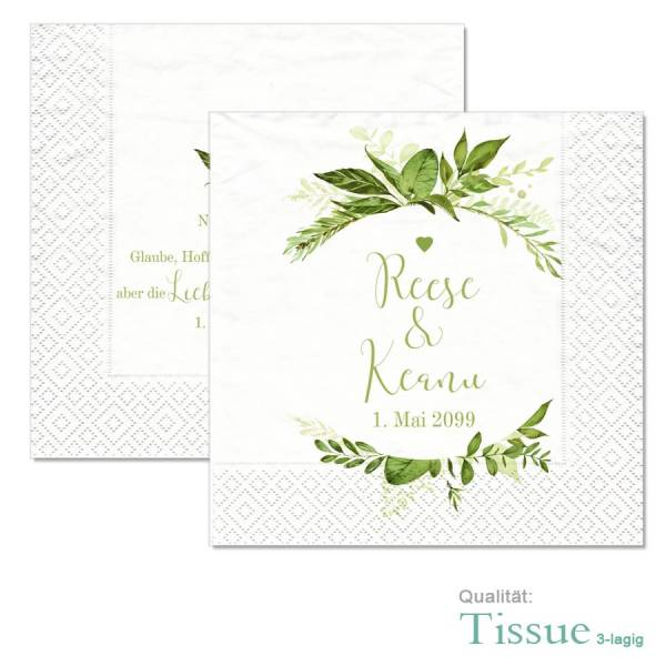 """personalisierte Servietten Greenery Wedding """"Reese & Keanu"""""""