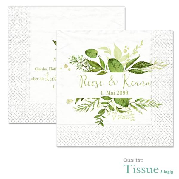 "bedruckte Servietten Greenery Wedding ""Reese & Keanu"""