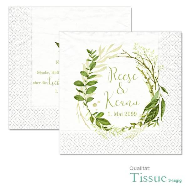 "Servietten bedruckt Greenery Wedding ""Reese & Keanu"""