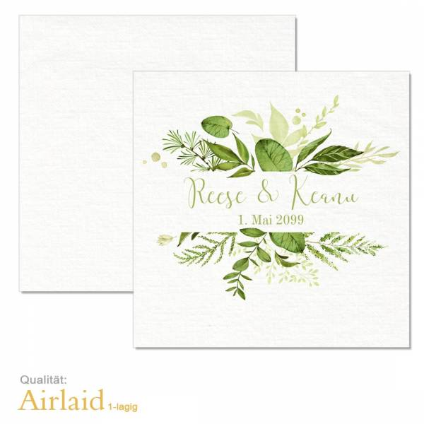 bedruckte Servietten Greenery Wedding