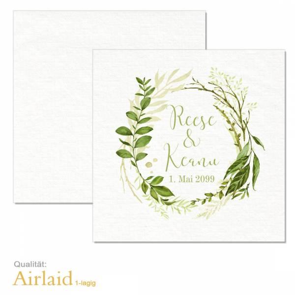 """Servietten bedruckt Greenery Wedding """"Reese & Keanu"""" Airlaid-Material"""