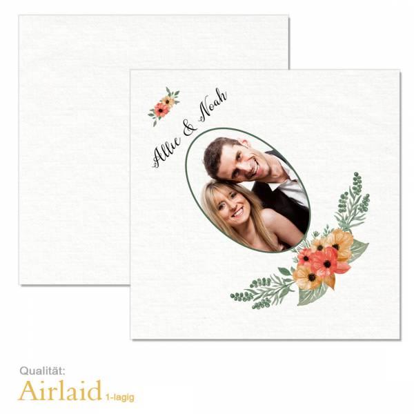 bedruckte Servietten Hochzeit Airlaid Blumen Boho