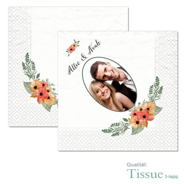 Servietten bedruckt Hochzeit Blumen Boho Tissue