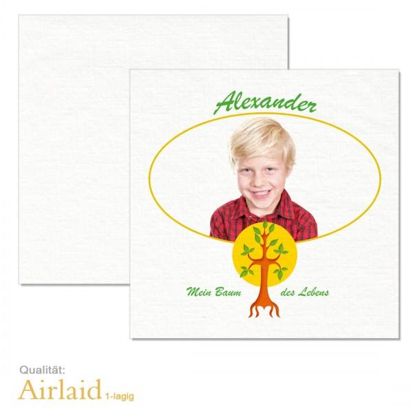 Servietten Kommunion Baum des Lebens mit Foto Airlaid