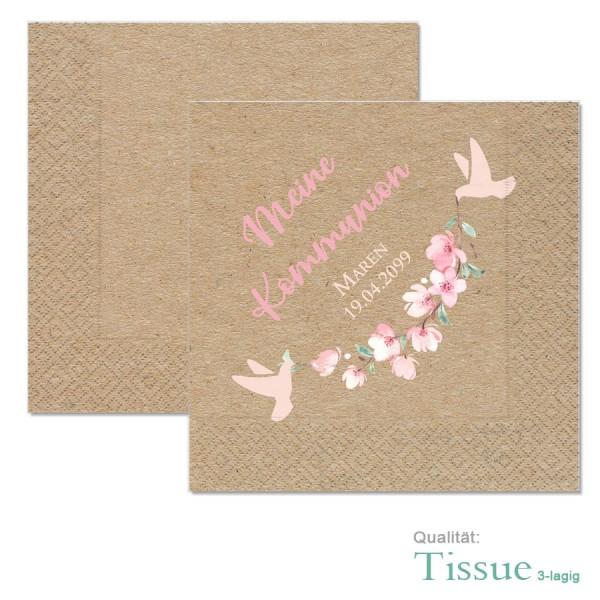 bedruckte Servietten mit Kirschblüten und Tauben, Kraftkartonoptik