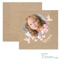 bedruckte Servietten mit Foto, Kirschblüten und Tauben, Kraftkartonoptik